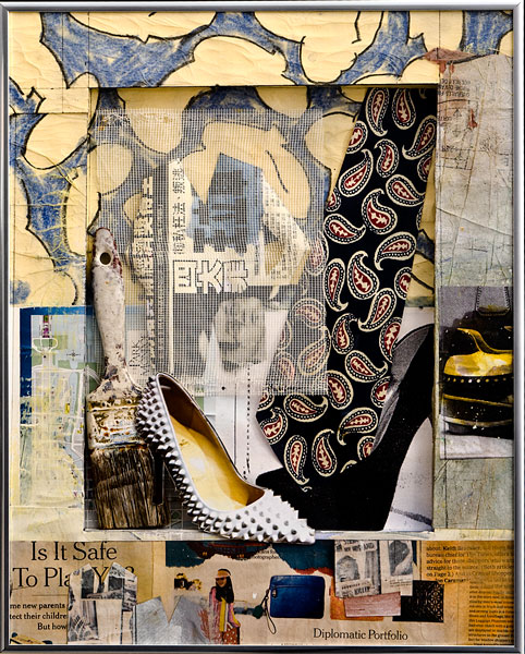 Mixed media collage, shoes by Robert Sedestrom