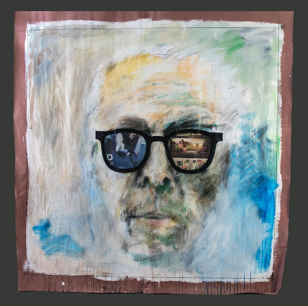 "Robert Sedestrom mixed media self portrait ""As I See It"""