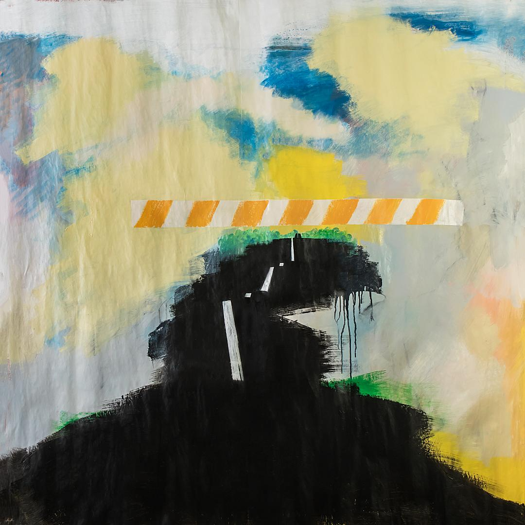Bold mixed media art work of a road closed by a caution bar