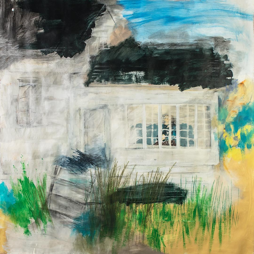 Expressive artwork of house, green grass and blue sky